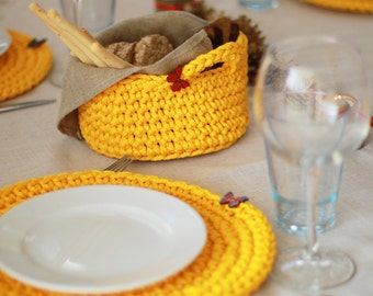 Placemats, Chrochet placemats, basket,Table Decoration,Table accessories,Crochet table decor,Gift idea. yellow table decor