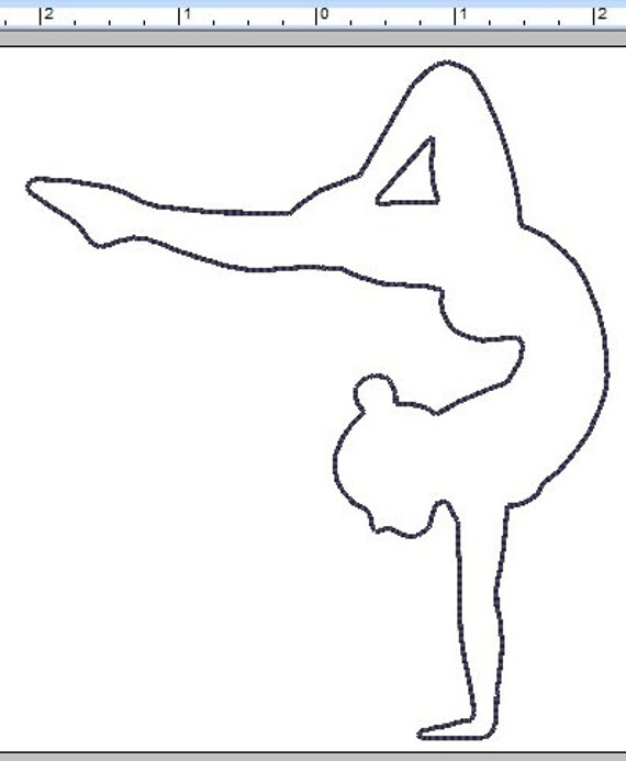 Gymnast Outline Felt Applique Embroidery File 5 Inch