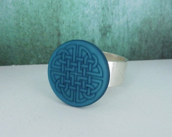 Ring • celtic knot • silver turquoise frosted