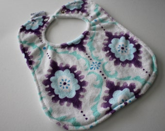 Purple, Saltwater Blue, White Flourish Minky Bib with Chenille Backing and Pearl Snap Closure - Baby, Feeding, Nursing