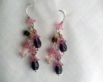 Purple Flower Earrings, Purple violet Drop Earrings, Sweet lolita pink earrings, Lilac pink earring, Bridesmaid Earrings, Dangle Earrings