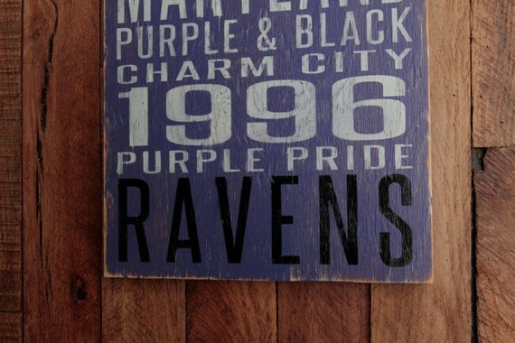 Baltimore Ravens Football Distressed Wood Sign--Great Father's Day Gift!