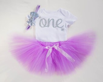 Twinkle Twinkle Little Star Personalized First Birthday Tutu Outfit in Purple and Silver