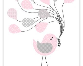 Bird Nursery, Girl Nursery Art, Bird Nursery Decor, Grey and Pink, Toddler Decor, Kids Room Decor, Girl's Room, Baby Girl, Bird Canvas Art