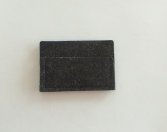 Card Holder, Grey Business Card Holder, Wool Felt Case, Small Felt Card Holder, Dark Gray Card Holder
