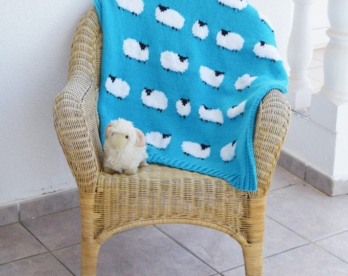 Knitting pattern for a Sheep Blanket, Throw Knitting Pattern with Sheep, Baby Blanket with Sheep, Pdf download
