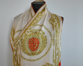 Vintage PRINTED SILK SCARF , long silk scarf , hand rolled scarf....(112)