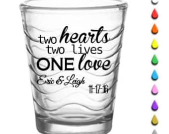 """144 """"Two Hearts"""" Custom Shot Glasses"""