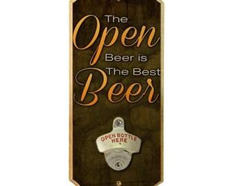 Open Beer - Wall Mounted Wood Plaque Bottle Opener