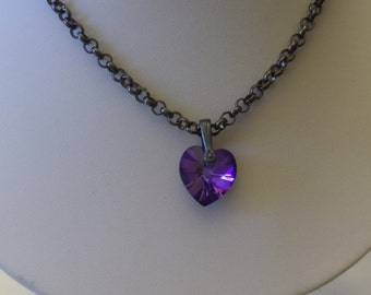 Faceted Peurple Heart Swarovski Crystal t on Gunmetal Chain Necklace