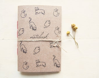 Cat notebook, cat handmade journal ecofriendly inspired by Picasso