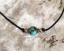 Turquoise choker, Turquoise bead choker, Stone choker, Gemstone choker, Beach choker, Boho choker, Layered choker, Simple choker necklace