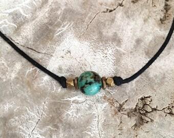 Turquoise choker, Blue stone choker, Turquoise bead choker, Gemstone choker, Beach choker, Boho choker, Layered choker, Simple choker