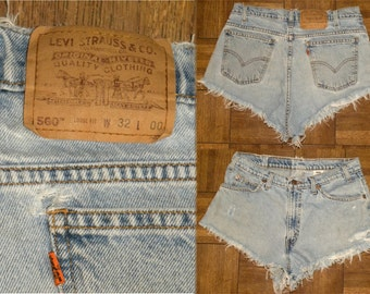 "1980s 80s Levi's cut offs / shorts / 560 / high waist / denim / jean shorts / Orange Tab / Daisy Dukes / Vintage 32 / waist is 31-32"""