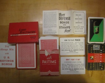 WWII War Bond Playing Cards, Deck of Cards, Card Deck, New Old Cards Vintage