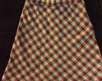SUMMER SALE 20% OFF Vintage  Wool Skirt Orange Green and Gold Plaid Hipster Skirt Womens Size XSmall or Teen