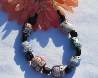 Multi Color Owl Bracelet , Glass Beaded Bracelet, Woman's Jewelry