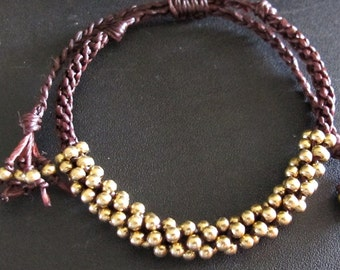 3mm Brass Beaded Woven Bracelet in Brown Cotton Cord