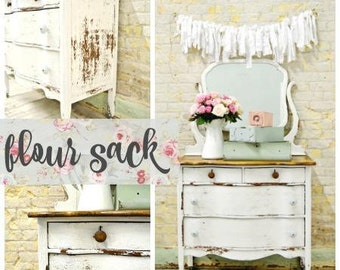 Sweet Pickins Milk Paint | Color - FLOUR SACK | Farmhouse Cottage | Chippy | Rustic | Primitive | Furniture Paint | Home Decor | White