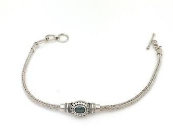 Sterling Silver Blue Topaz Bali Bracelet