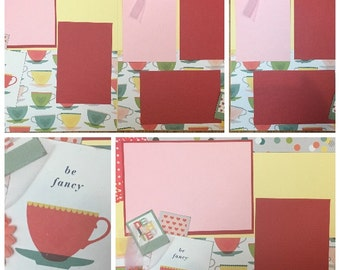 Be Fancy Tea Party, 2 Page Scrapbooking Layout Kit