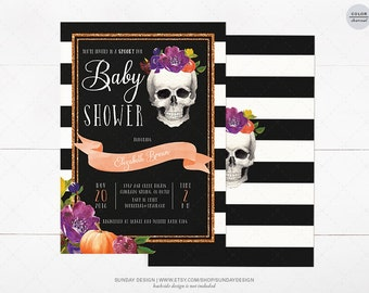 Watercolor Skull Baby Shower Invitation Card - DIY Printable Party - Fall Baby Shower Invite - Little Pumpkin - Halloween Costume Party