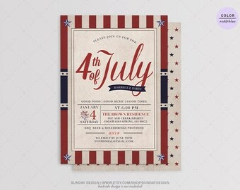 Stars 4th of July BBQ Party Invitation Invitation - DIY Printable - Independence Day Barbecue Party