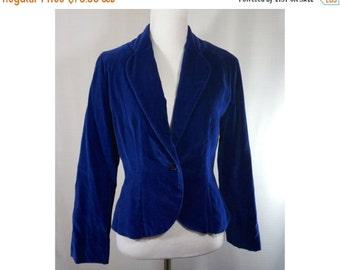ON SALE Vintage Blue Velvet Jacket Victor Costa Size 6 Victorian Steampunk