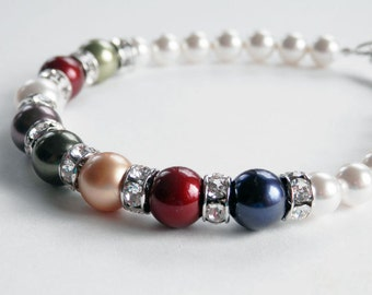 Sterling Mothers Bracelet, Pearl Mothers Bracelet, Swarovski Pearls, Birthstone Bracelet, Toggle Bracelet, Pearl Bracelet, Custom Made
