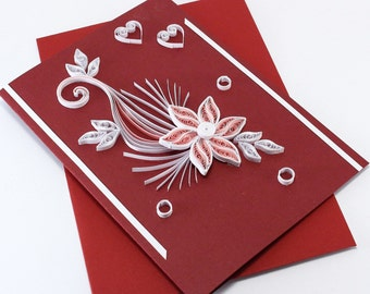 Valentine Card Quilled Handmade Greeting Card Birthday I