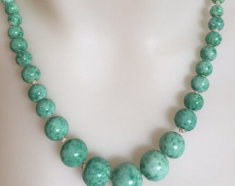 """Graduated hand knotted Art Deco Peking glass beaded necklace 19""""inches"""