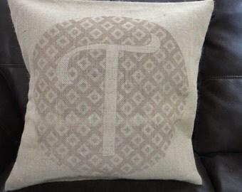 14x14 Monogram burlap pillow case (with background design)