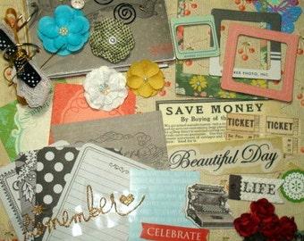 Yesterday Journal Kit. Art Journal- Mini Album-Premade Scrapbook Pages- Paper Piecing- Scrapbook KIT