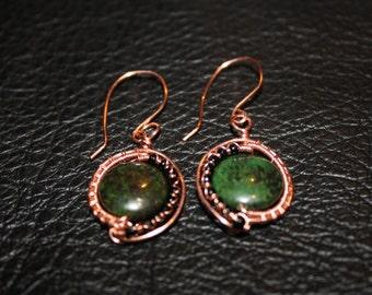 Copper & Jasper Woven Earrings