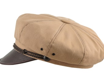 Vintage Harley Style Motorcycle Hat Pure Cotton and Natural Leather - beige / brown