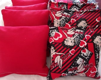 8 ACA Regulation Cornhole Bags - Betty Boop and Solid Red