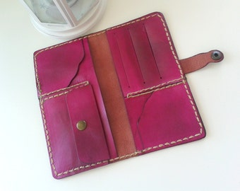 Pink Women Wallet Handmade Leather Billfold christmas gift for women