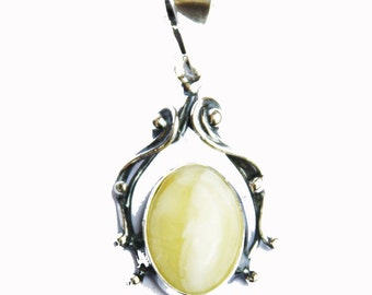 Silver Butterscotch Baltic Amber Pendant - Vintage Charm, + gorgeous gift box, 925 sterling silver