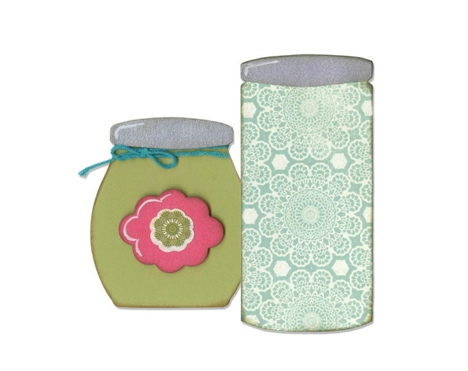 New! Sizzix Bigz Die - Button Jars & Labels by Eileen Hull 660764