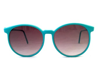 Turquoise Oversized Sunglasses Frames, Large Ombre 80's Ladies Eyeglasses, Blue Green Eyewear Glasses Plastic Geek Chic