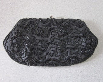 1950s Black Silk Evening Bag, Embroidered with Black Glass Beads