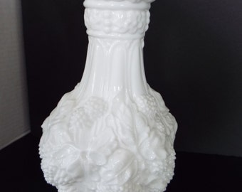 Loganberry milk white glass vase imperial glass company