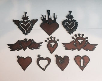 HEART Charms(3)  WINGS CROWN Charm Pendant Cutouts any three (3) Made of Rustic Rusty Rusted Recycled Metal