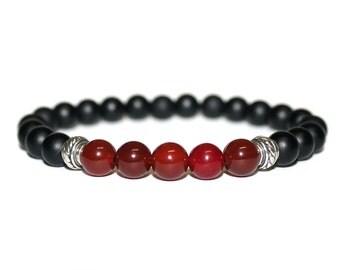 Men's Bracelet, For Men, Onyx and Carnelian Sterling Silver Bracelet, Bracelet for Men, Bead Bracelet, Mens Bracelet, Man's Bracelet, Men