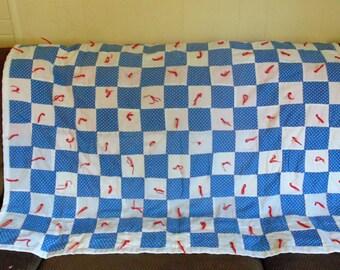 Vintage Quilt Baby Quilt Blanket Lap Quilt Granny Chic Decor