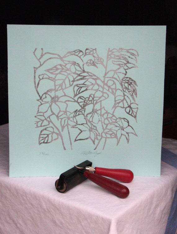 Clematis - Silver & Grey on Mint Green Paper