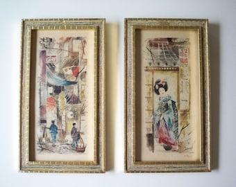 Vintage Illinois Moulding Co. watercolor prints of Hong Kong and Geisha