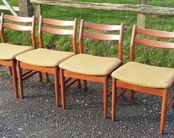 4 Retro Upholstered Chairs Stamped 1975