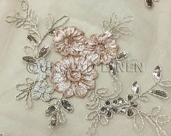 Ribbon Mesh Lace Fabric in Champagne - Lace Fabric w/ a Beautiful Sequined Embroidery Throughout - Perfect For Weddings and Special Events