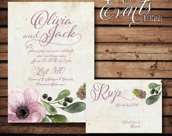 PRINTED Wedding Invitation - Pink Anemone 114